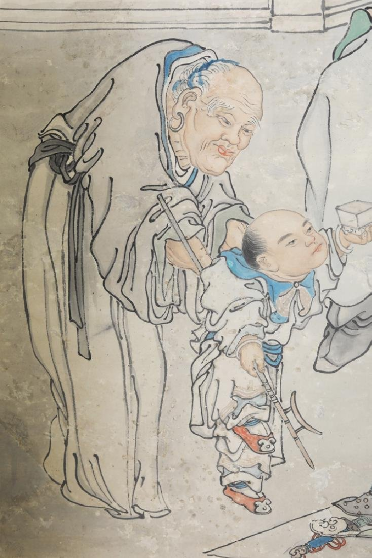 Chinese Republic watercolor painted scroll by Feng Run - 4