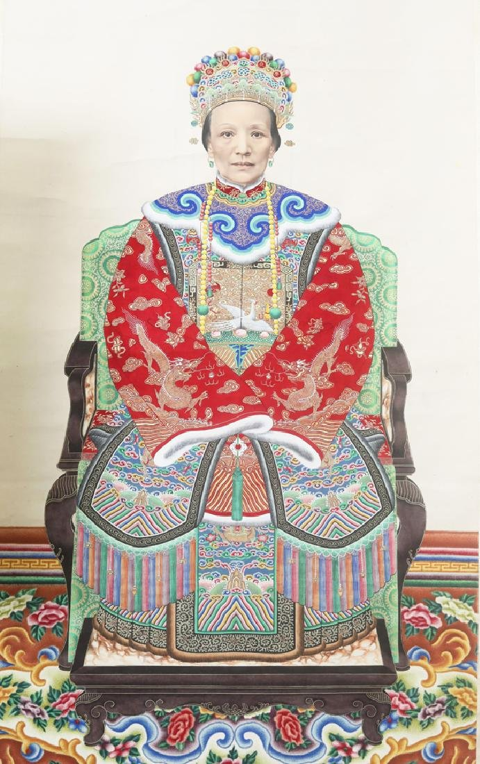 Chinese Qing watercolor painted  scroll - 3