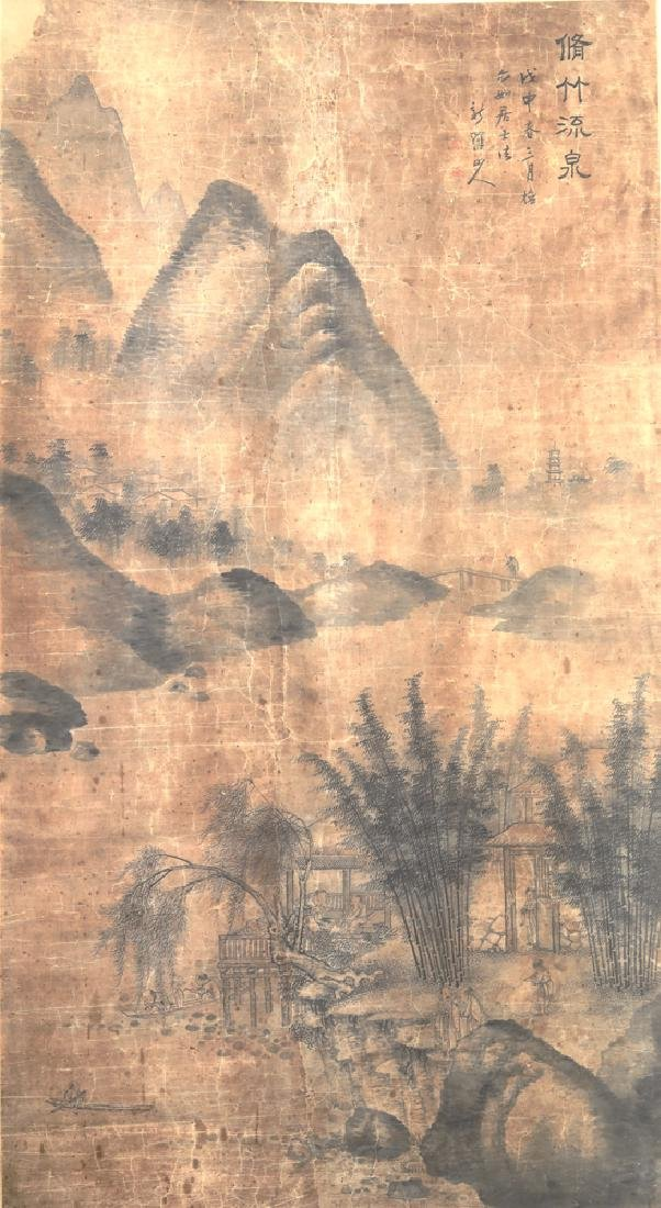 Chinese Qing watercolor painted scroll - 2