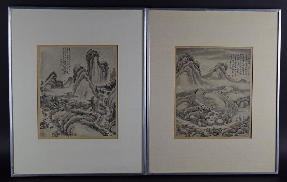 Pr.Chinese Qing framed water color painting