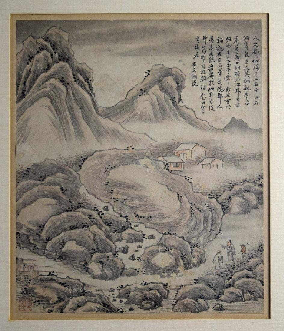 Pr.Chinese Qing framed water color painting - 2