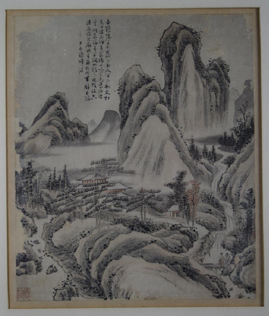 Pr.Chinese Qing framed water color painting - 7