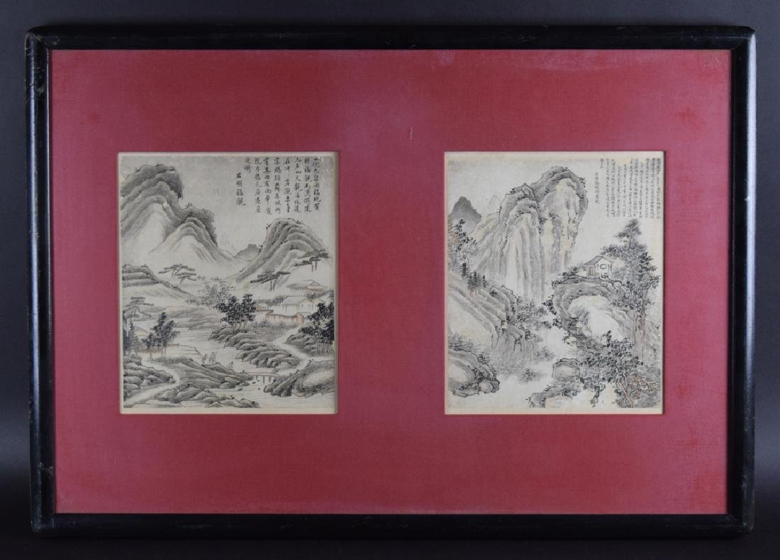 Pr. Chinese Qing framed watercolor painting
