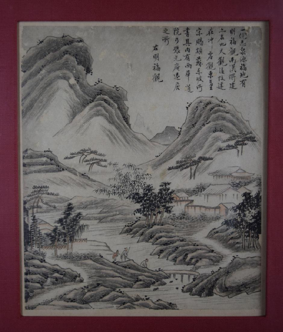 Pr. Chinese Qing framed watercolor painting - 8