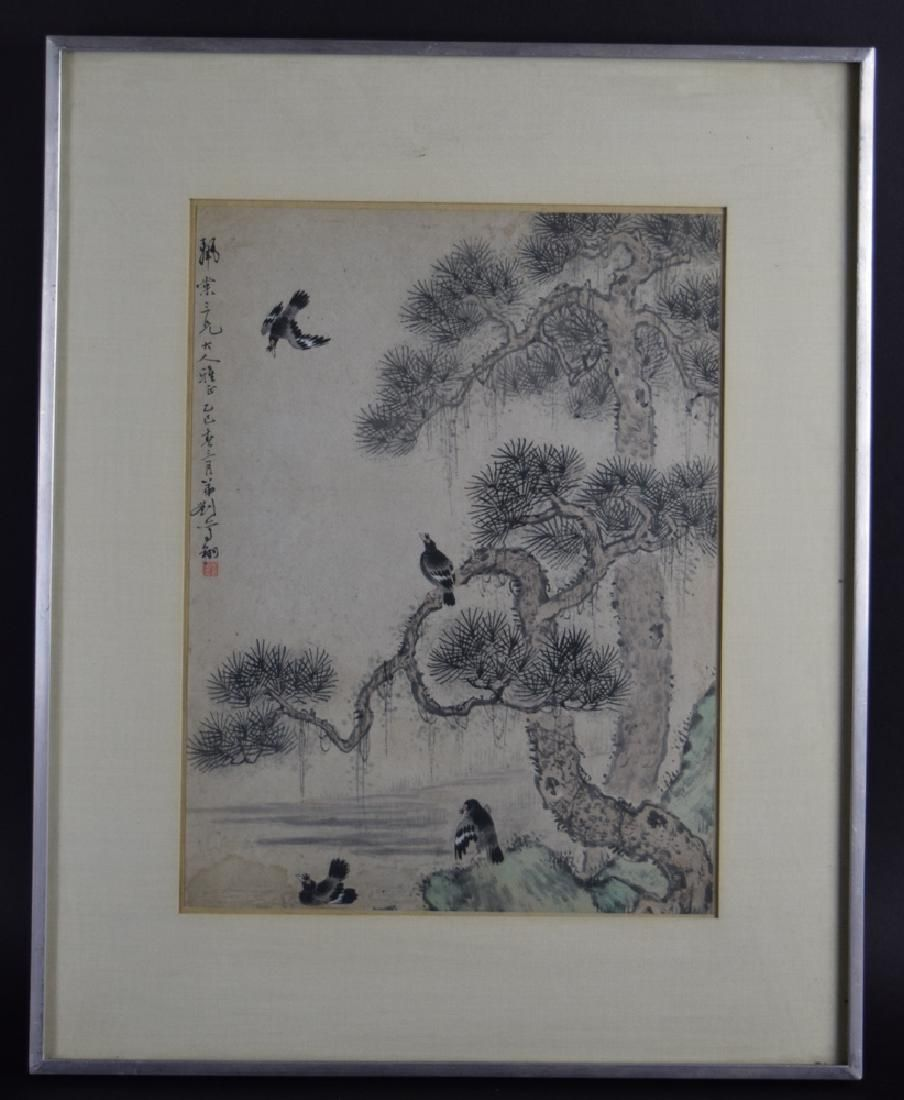 Chinese Qing framed watercolor painting