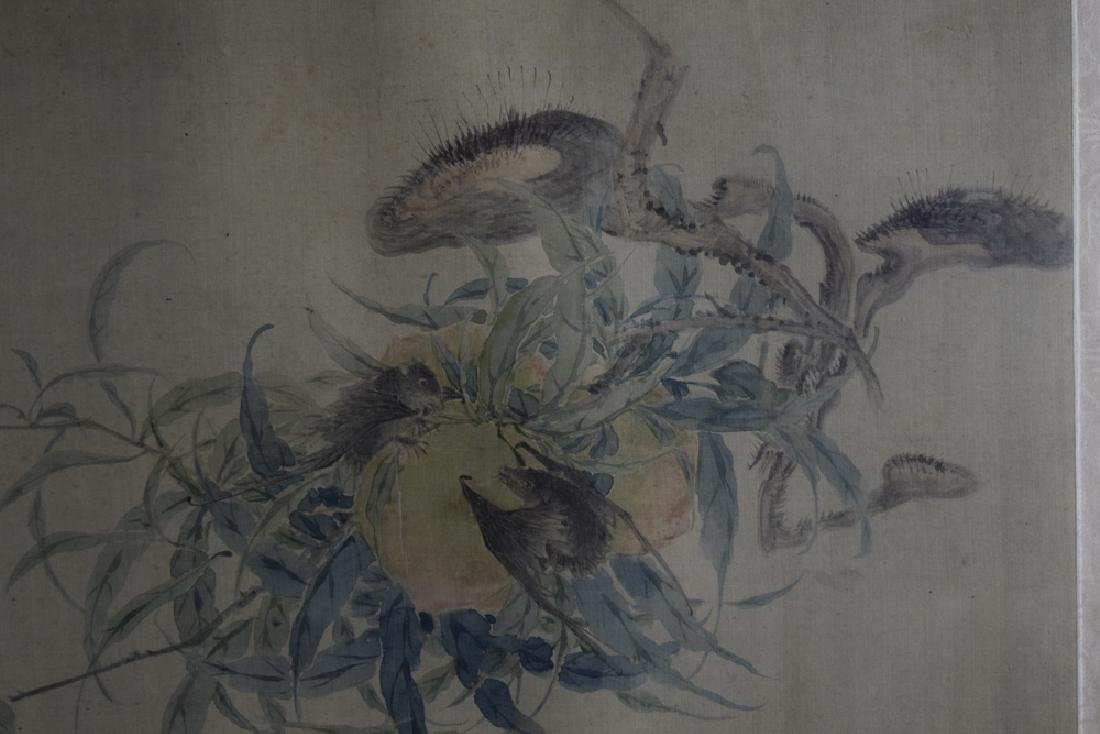 Chinese Qing framed watercolor painted on silk - 2