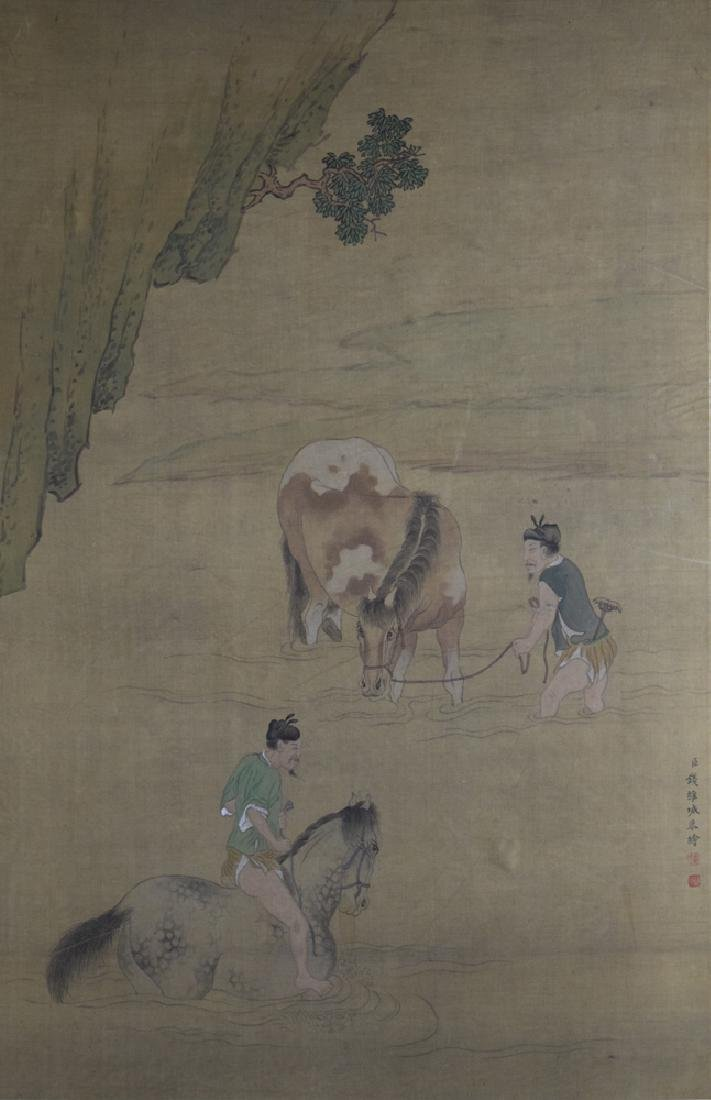 Chinese Qing watercolor painted on silk - 2