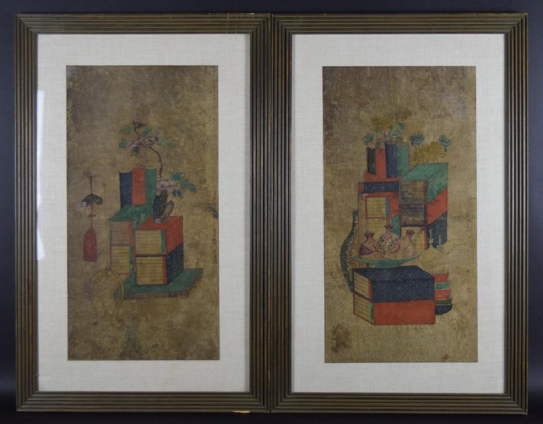 Set of two Chinese watercolor paintings