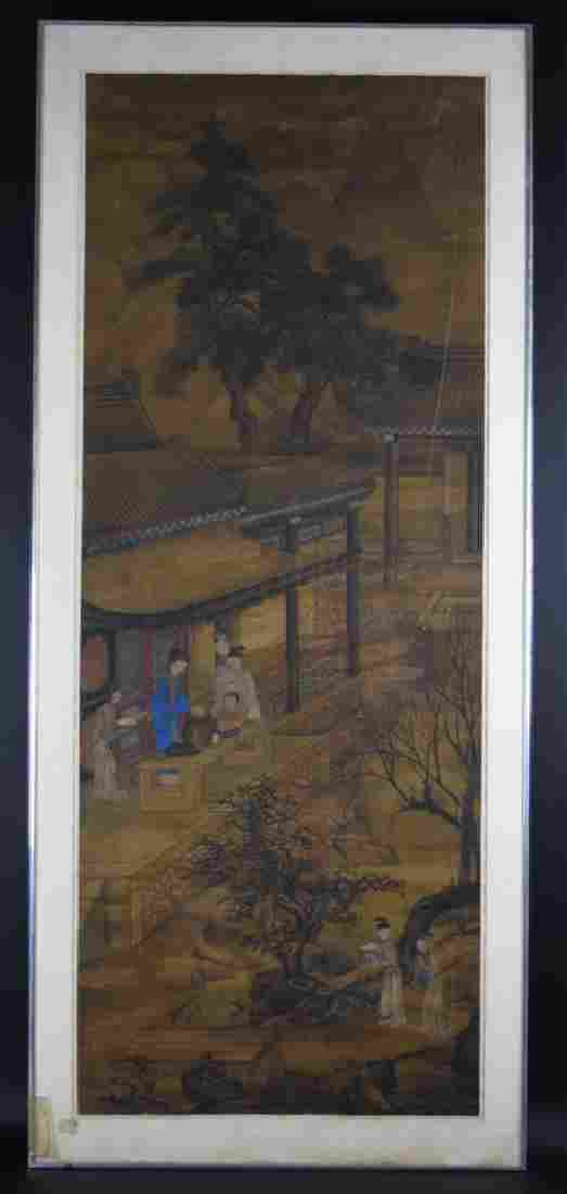 Chinese Antique framed watercolor painted on silk
