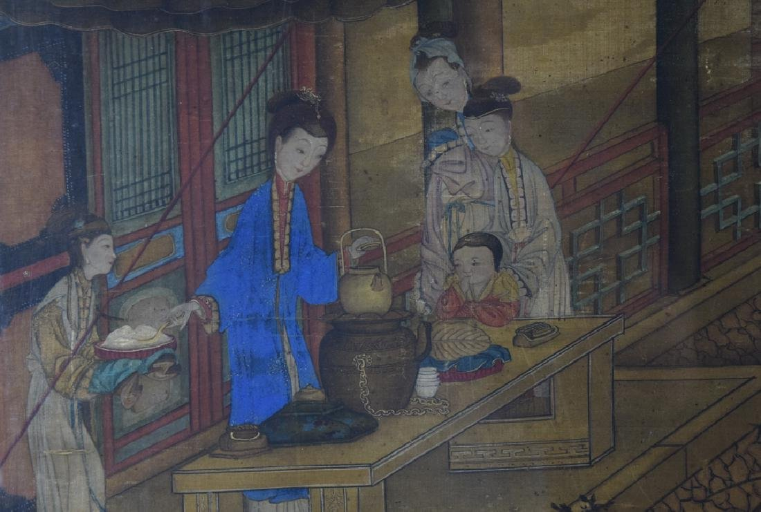 Chinese Antique framed watercolor painted on silk - 2