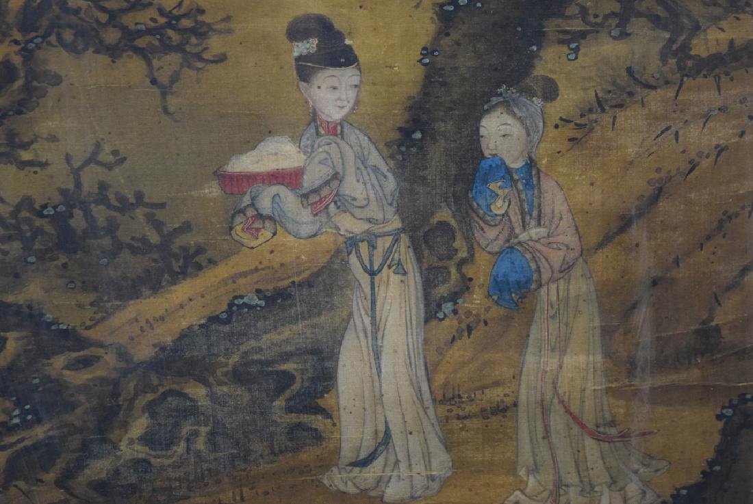 Chinese Antique framed watercolor painted on silk - 3