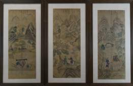 Set of Three Chinese Qing watercolor painting
