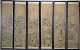Set of six Chinese Qing watercolor framed paintings