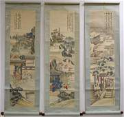 Set of three Chinese Republic watercolor painted