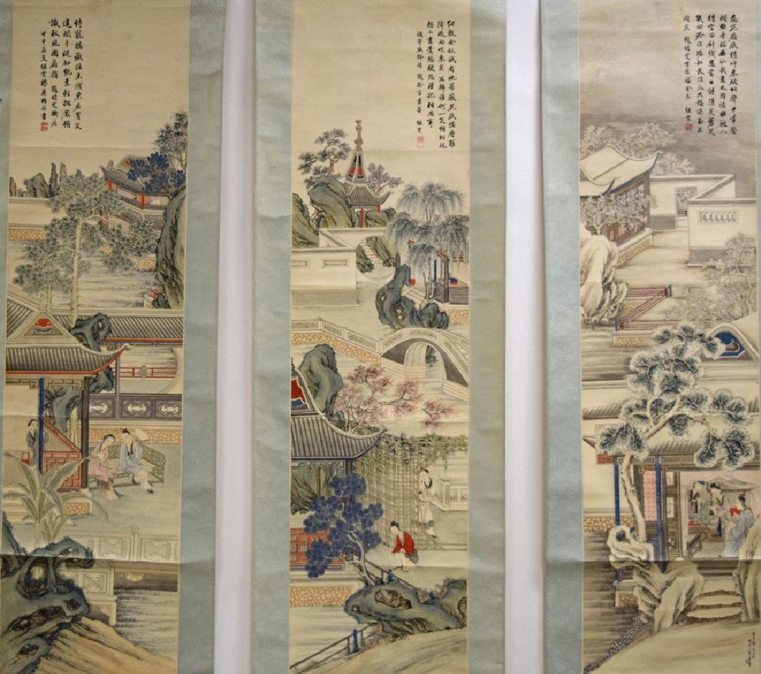 Set of three Chinese Republic watercolor painted - 2