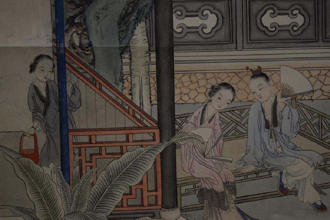 Set of three Chinese Republic watercolor painted - 7