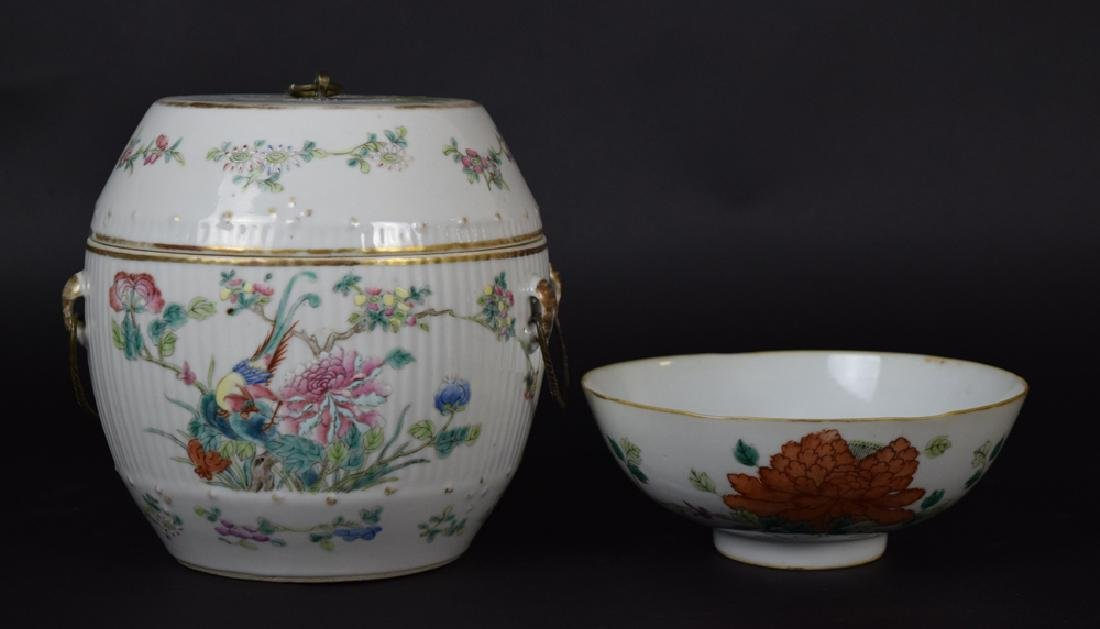Two Chinese Qing famille rose porcelain pieces