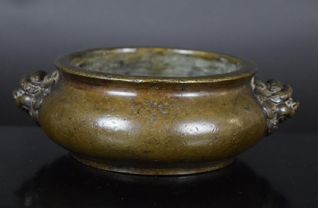 Chinese bronze incense burner,having two lion head