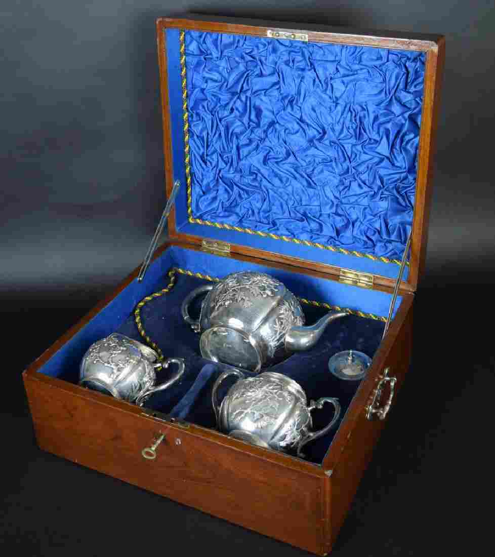 Set of three Chinese Qing sterling silver tea set with