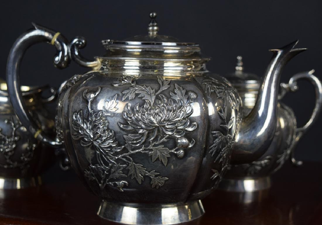 Set of three Chinese Qing sterling silver tea set with - 5