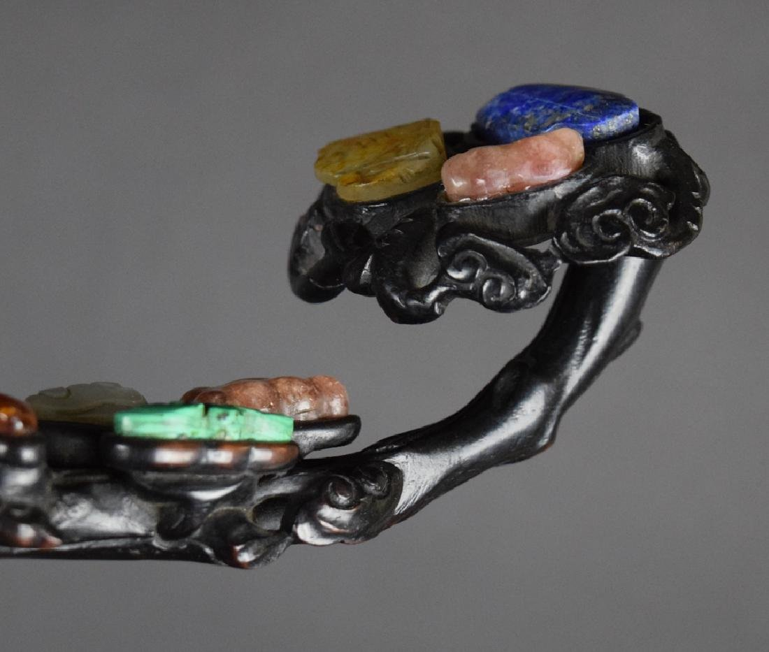 Chinese Qing carved semiprecious stone inlaid Zitan - 5