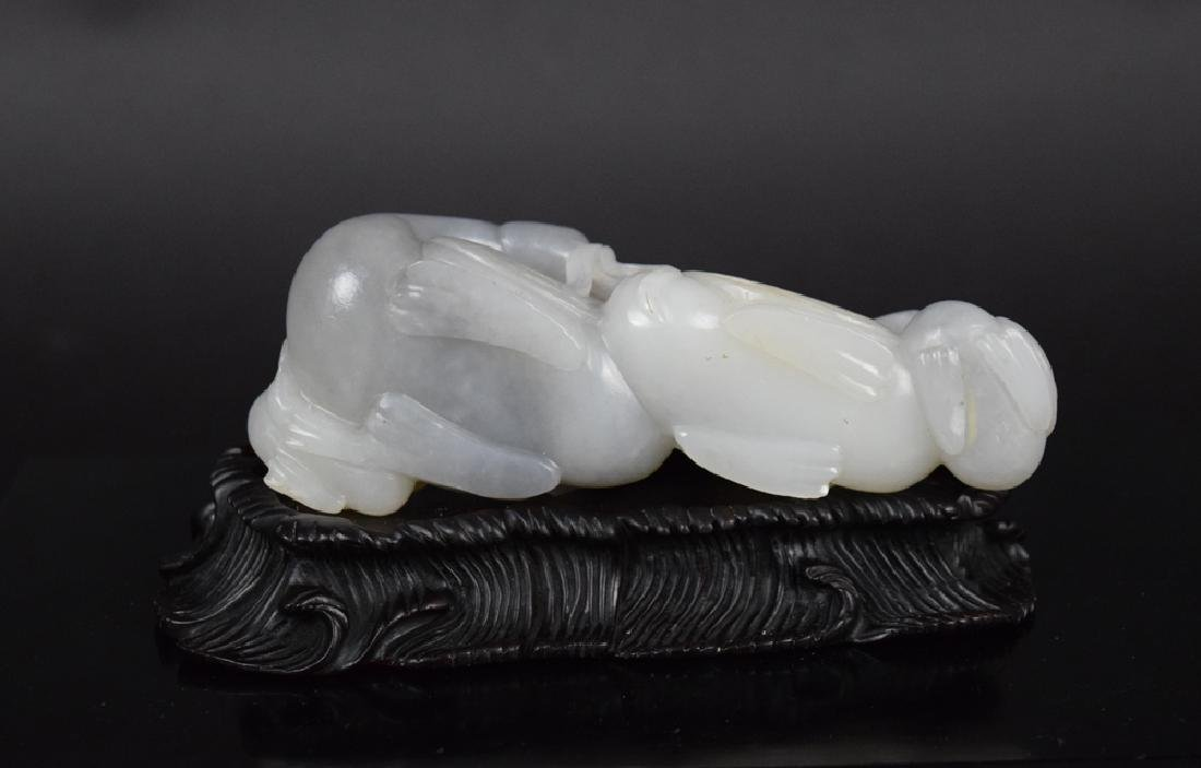 Chinese carved jade quadruple geese - 4