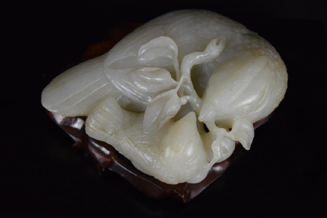 Chinese Qing carved jade double quail - 4