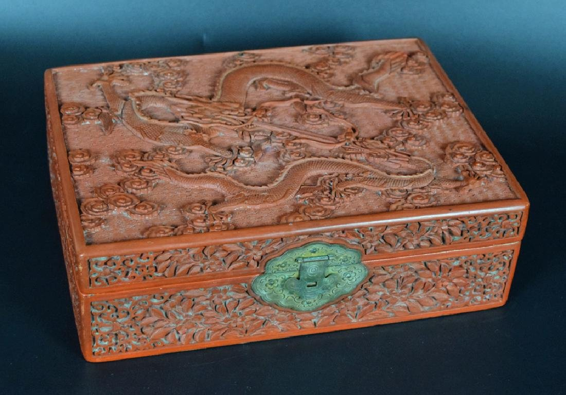 Chinese Qing carved cinnabar box,depicting dragons and
