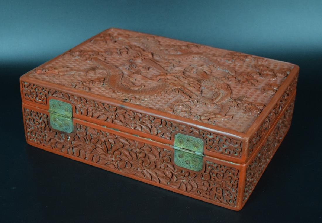 Chinese Qing carved cinnabar box,depicting dragons and - 4