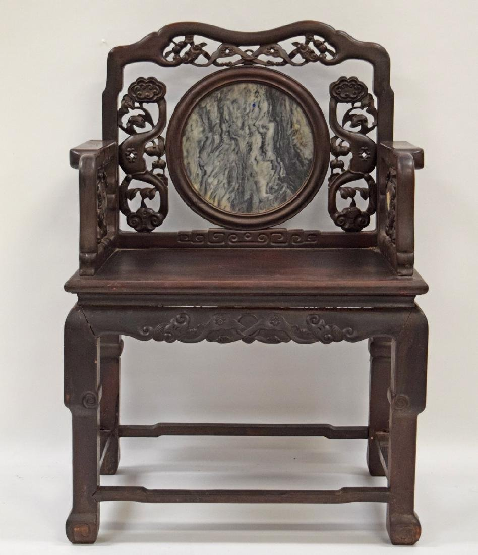 Chinese Qing marble inlaid rosewood chair,