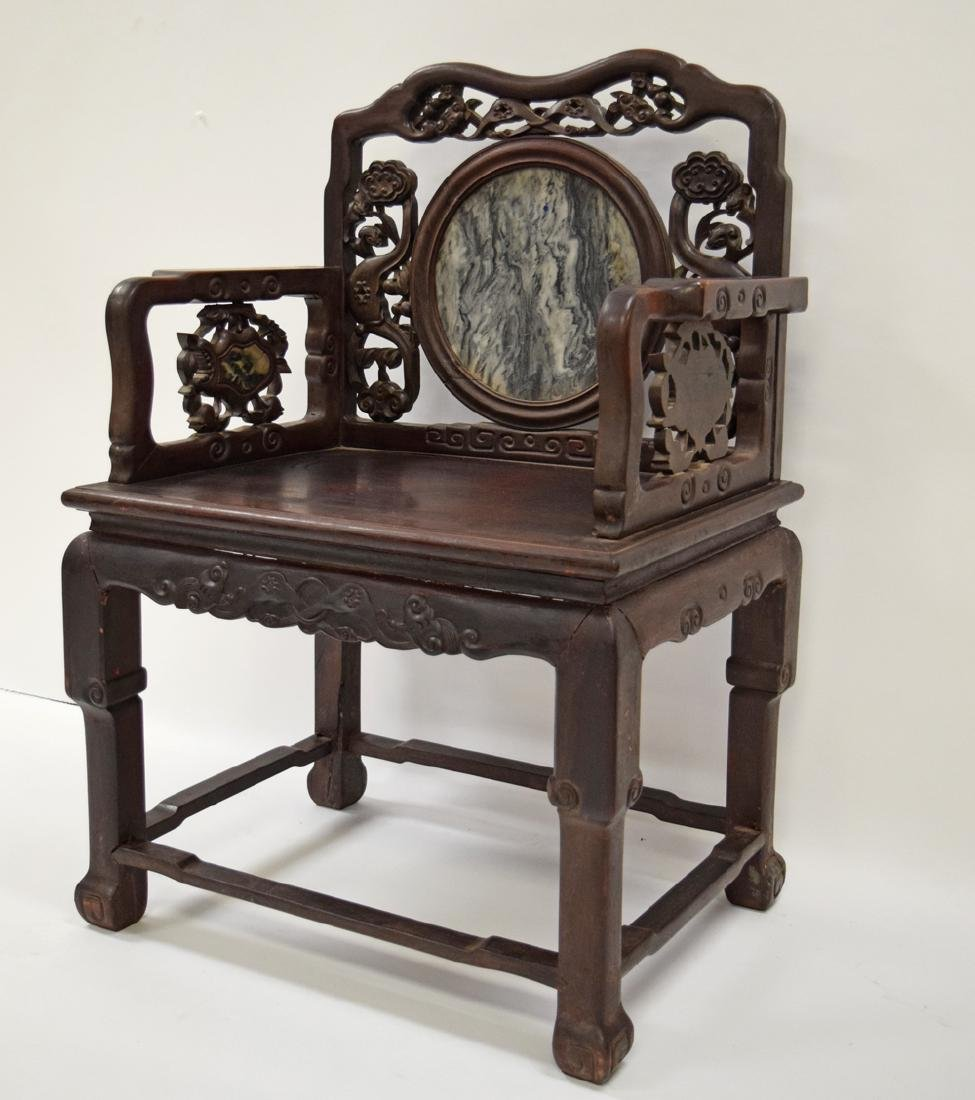 Chinese Qing marble inlaid rosewood chair, - 2