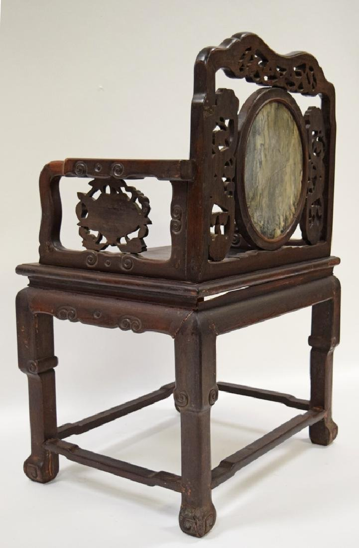 Chinese Qing marble inlaid rosewood chair, - 4