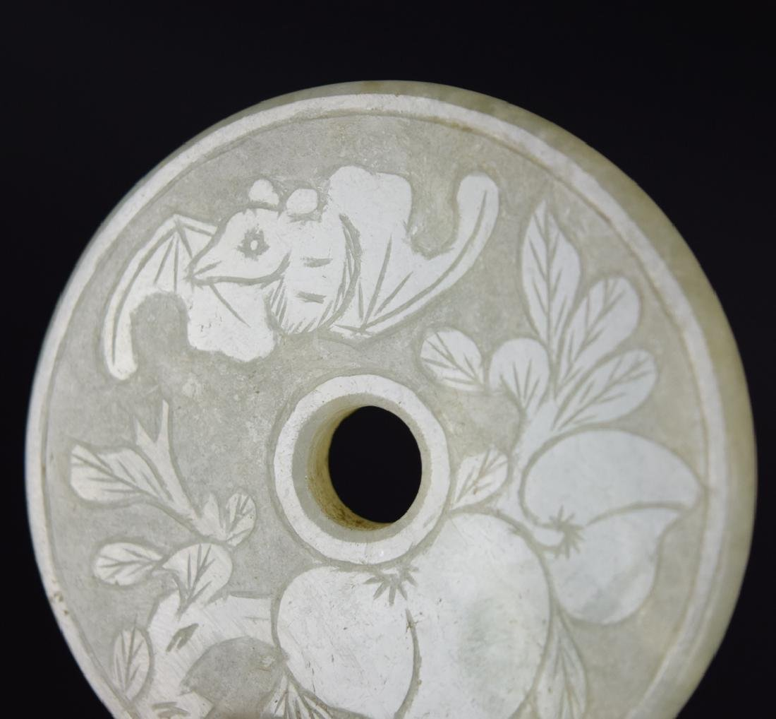 9 pcs Chinese Republic carved jadeite Bi disks - 7