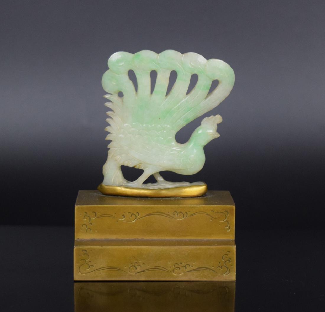 Chinese caved jadeite inlaid bronze paper weight