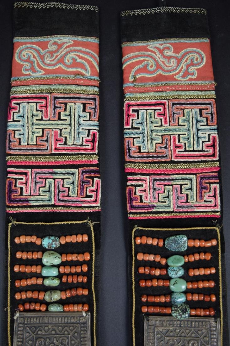 Pr. Chinese Tibetan gold and silk thread embroidery - 4