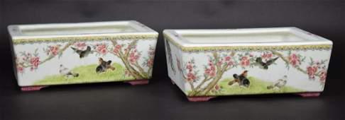 Pr. Chinese Republic famille rose porcelain planters