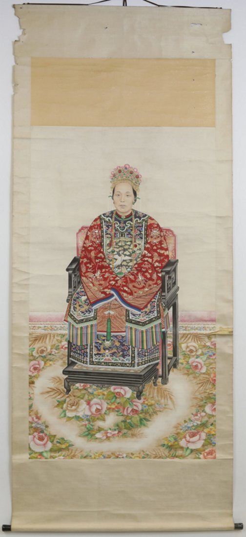Chinese watercolor painted portrait scroll
