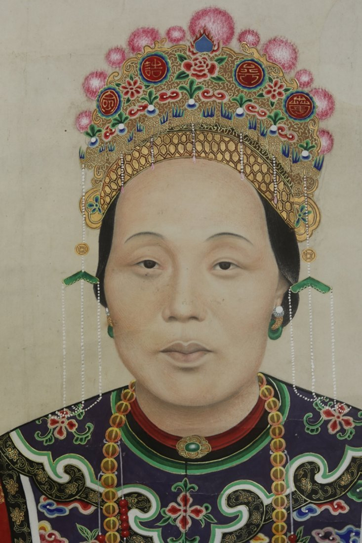 Chinese watercolor painted portrait scroll - 3