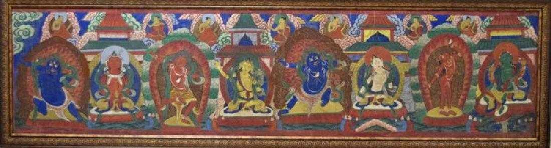 Large Chinese Tibetan Qing painted Thangka