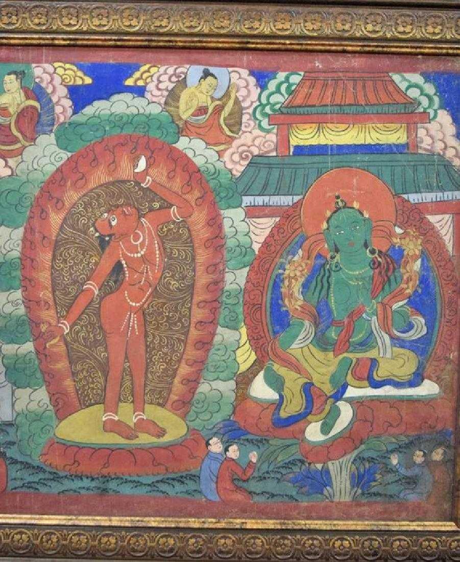Large Chinese Tibetan Qing painted Thangka - 2