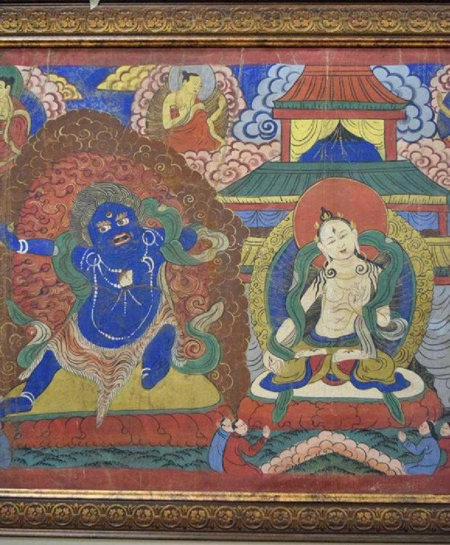 Large Chinese Tibetan Qing painted Thangka - 3