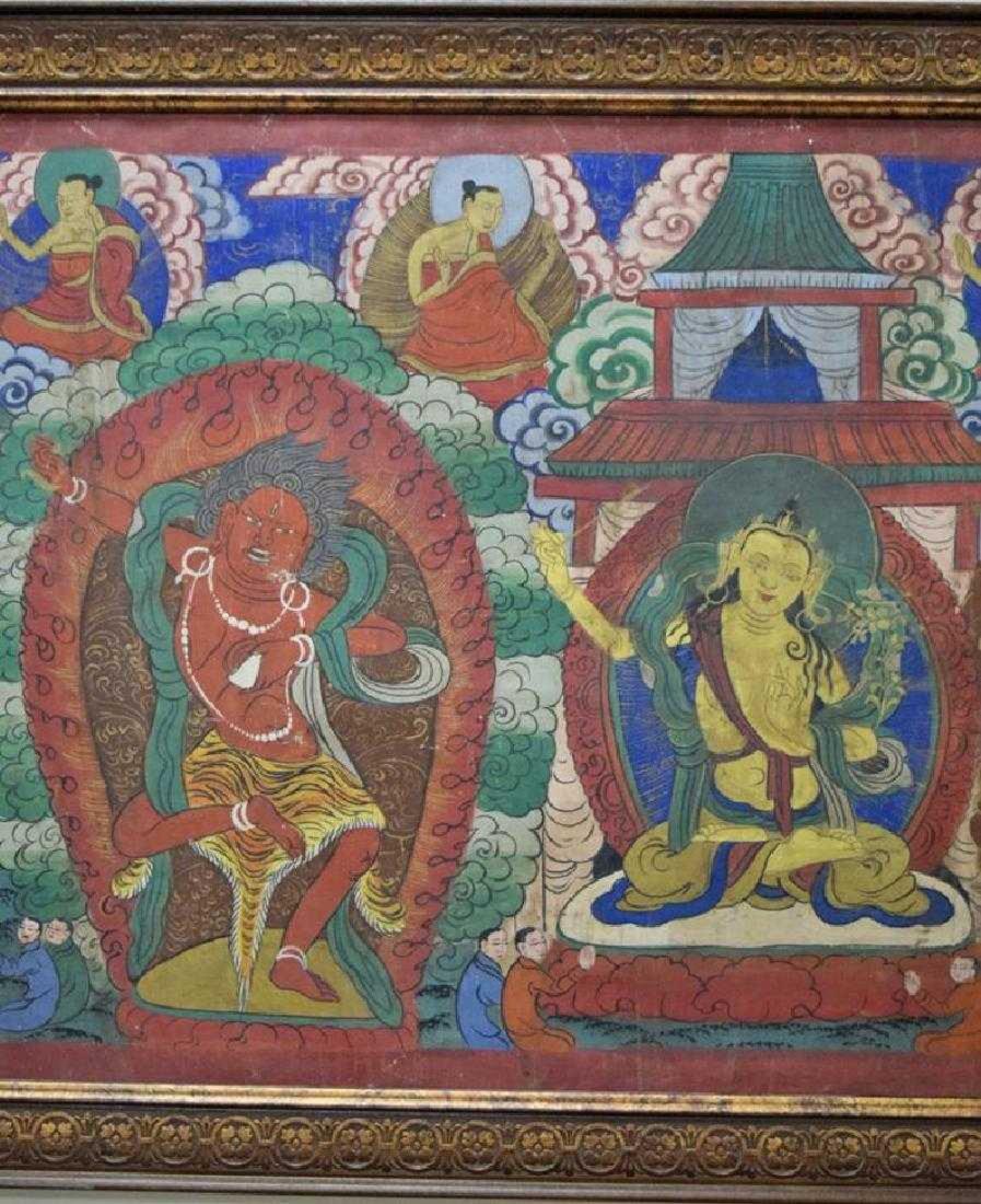 Large Chinese Tibetan Qing painted Thangka - 4