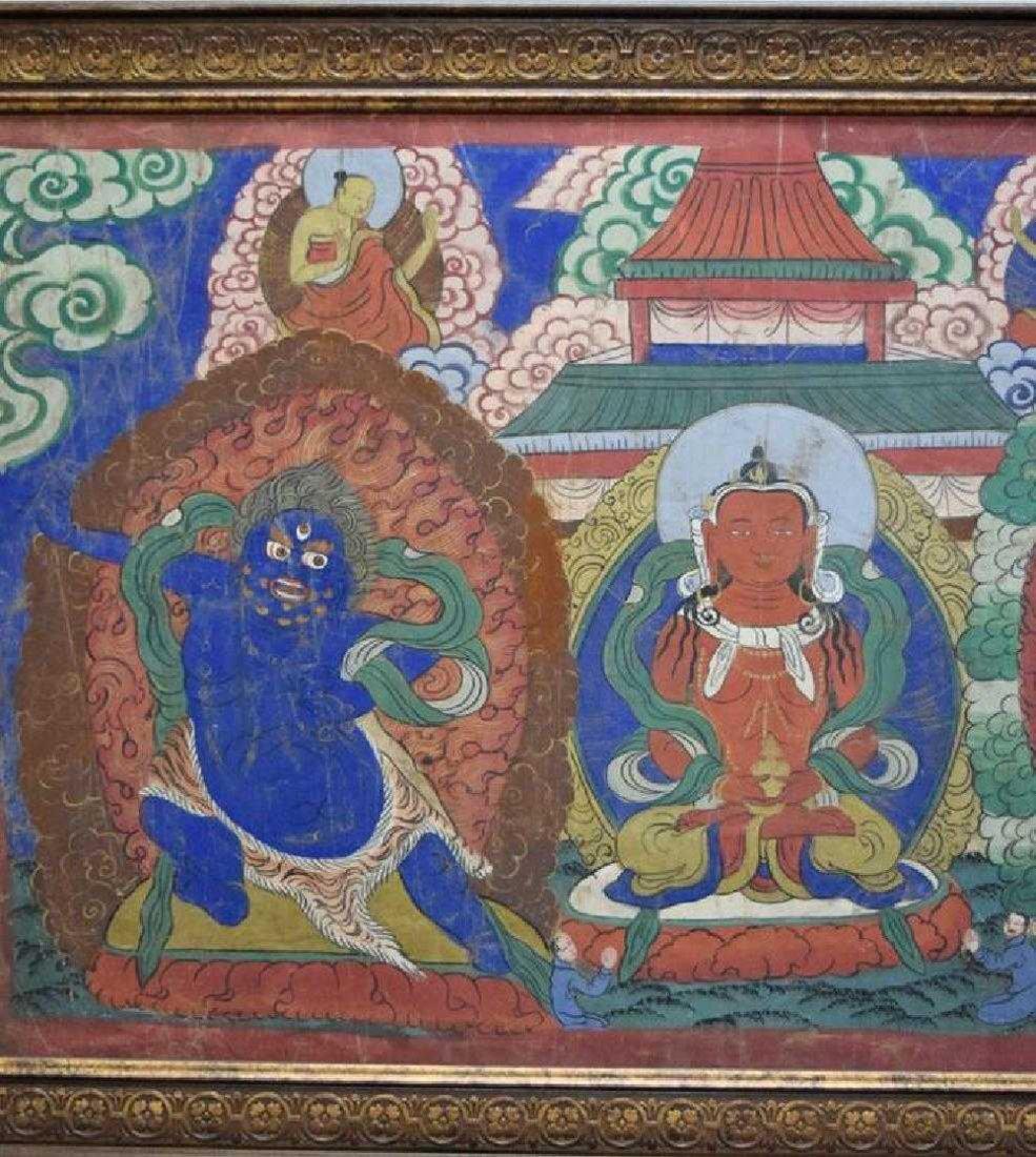 Large Chinese Tibetan Qing painted Thangka - 5