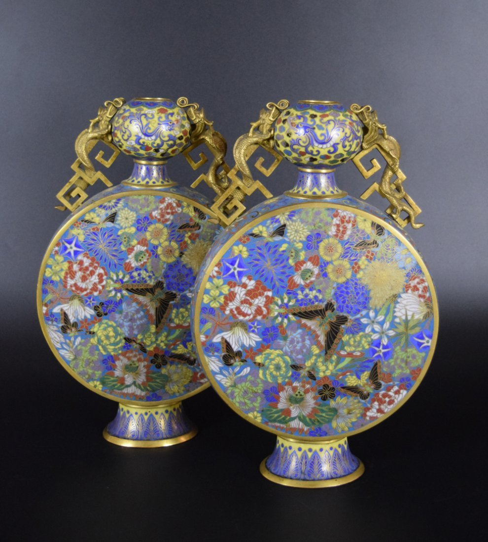Pr. Chinese Qing cloisonne moon-flask vases