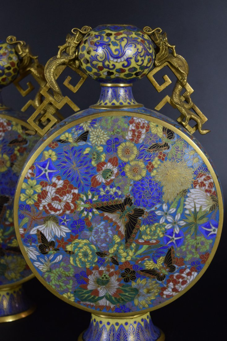 Pr. Chinese Qing cloisonne moon-flask vases - 2