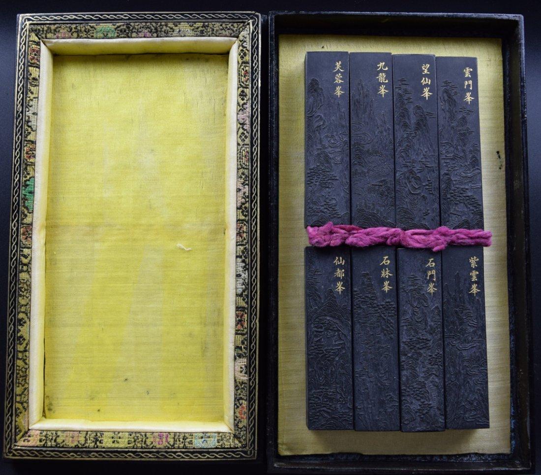 Set of 8 Chinese Qing ink sticks - 4