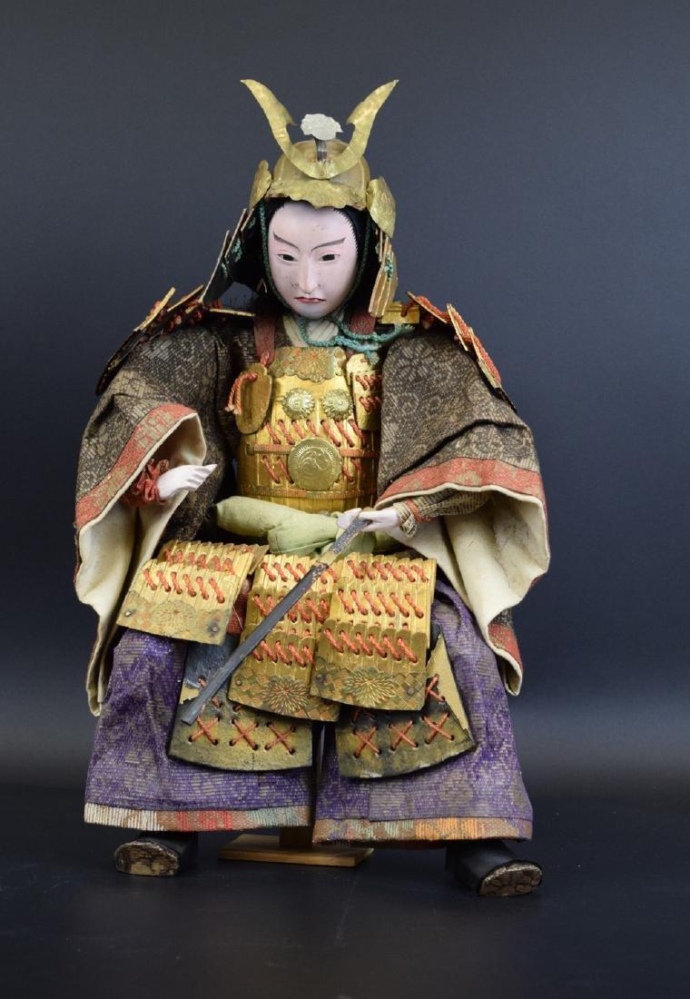 Large Antique Japanese Samurai Warrior Doll