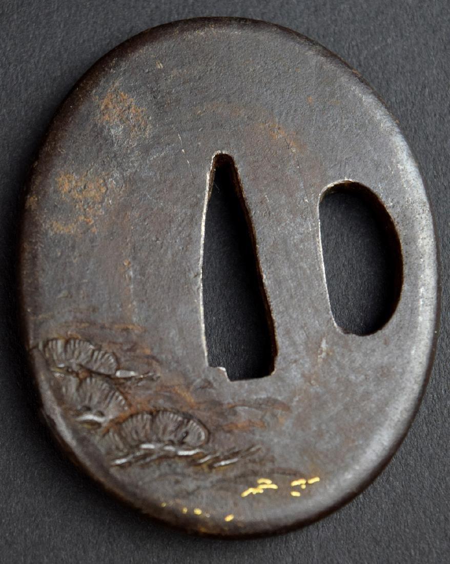 18-19th C Japanese Sword Iron Tsuba - 4