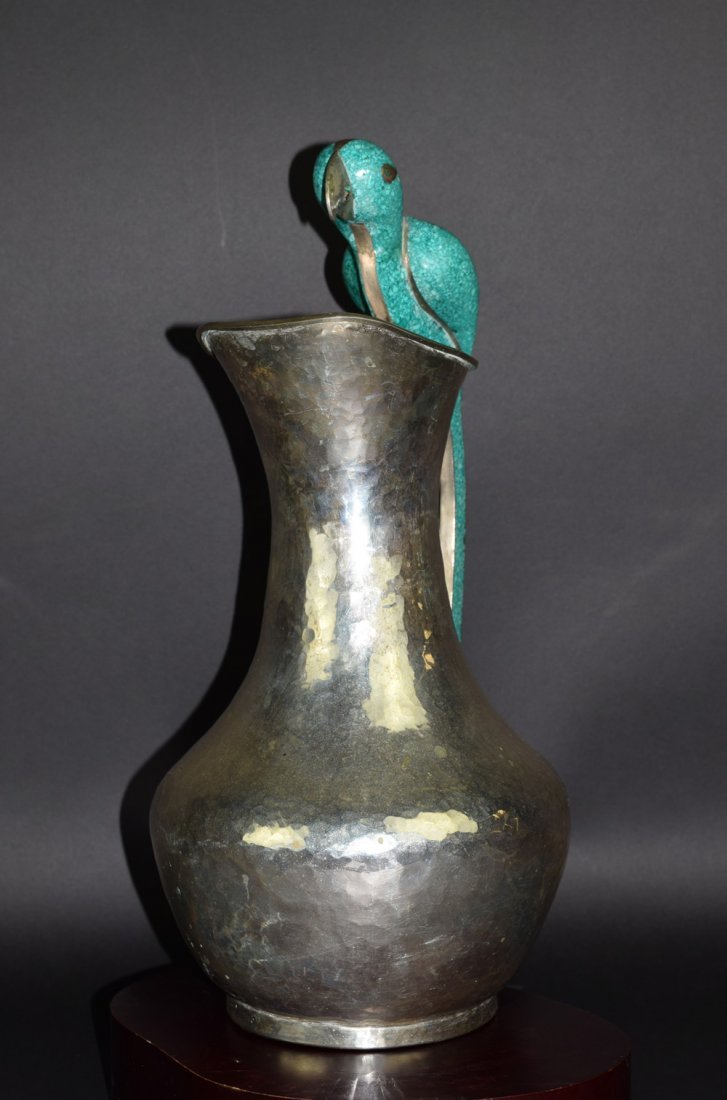 Mexican Silverplate and Hardstone Parrot Pitcher - 3