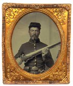 1/6 plate Tintype Image of a Civil War Soldier Armed